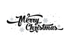Vectortekst op witte achtergrond Het vrolijke Kerstmis van letters voorzien voor uitnodiging en groetkaart, drukken en affiches Stock Foto's