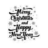 Vectortekst op witte achtergrond Vrolijke Kerstmis en het Gelukkige Nieuwjaar van letters voorzien voor uitnodiging en groetkaart Stock Foto's