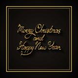 Vectortekst op zwarte achtergrond Wij wensen u Vrolijke Kerstmis en het Gelukkige Nieuwjaar van letters voorzien voor uitnodiging Royalty-vrije Stock Afbeelding