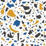 Vectorterrazzo naadloos patroon, muurschilderingachtergrond met chaotische vlekken stock illustratie