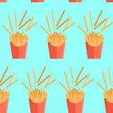Vectortextuur van patroon met frieten Royalty-vrije Stock Foto's
