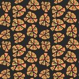 Vectortextuur van patroon met margheritapizza Plakken in een vlakke stijl Naadloze Achtergrond Stock Foto