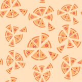Vectortextuur van patroon met pepperonispizza Stock Afbeeldingen