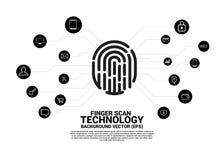Vectorthumbprintpictogram met functioneel pictogram stock illustratie