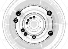 Vectorthumbprintpictogram met functioneel pictogram op futuristisch wiel stock illustratie
