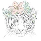 Vectortijger watercolor vector illustratie