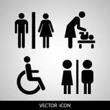 Vectortoiletpictogrammen: dame, mens, kind en onbekwaamheid stock illustratie