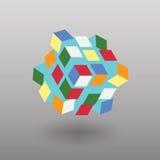 Vectortransformatorkubus Gelijkend op Rubik& x27; s Kubus Royalty-vrije Stock Afbeeldingen