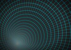 Vectortunnelachtergrond 3D Wireframe-Nettunnel Stock Afbeelding