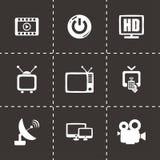 Vectortv-pictogramreeks Stock Foto