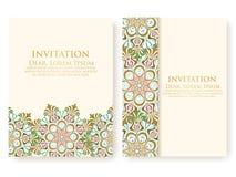 Vectoruitnodiging, kaarten met etnische arabesqueelementen Het ontwerp van de Arabesquestijl Elegante bloemen abstracte ornamente stock illustratie