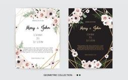 Vectoruitnodiging met met de hand gemaakte bloemenelementen De kaarten van de huwelijksuitnodiging met bloemenelementen stock illustratie