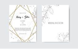 Vectoruitnodiging met met de hand gemaakte bloemenelementen De kaarten van de huwelijksuitnodiging met bloemenelementen royalty-vrije illustratie