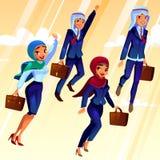 Vectoruniversiteits Arabische studenten in universitaire kleding vector illustratie
