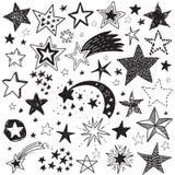 Vectorvakantiereeks hand getrokken sterren Feestelijke zwart-witte inzameling royalty-vrije illustratie