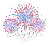 Vectorvakantievuurwerk Onafhankelijkheidsdag van Amerika Royalty-vrije Stock Afbeeldingen