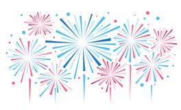 Vectorvakantievuurwerk Onafhankelijkheidsdag van Amerika Stock Afbeelding