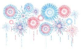 Vectorvakantievuurwerk Onafhankelijkheidsdag van Amerika Royalty-vrije Stock Fotografie