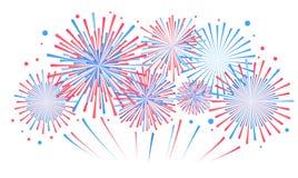 Vectorvakantievuurwerk Onafhankelijkheidsdag van Amerika Stock Foto's