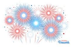 Vectorvakantievuurwerk Onafhankelijkheidsdag van Amerika Royalty-vrije Stock Foto