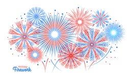 Vectorvakantievuurwerk Onafhankelijkheidsdag van Amerika Royalty-vrije Stock Foto's