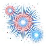 Vectorvakantievuurwerk Onafhankelijkheidsdag van Amerika Stock Afbeeldingen