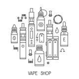 Vectorvape-pictogrammen in dunne lijn stock illustratie