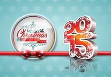 VectorVector新年快乐2015红色与丝带的庆祝背景 免版税库存照片