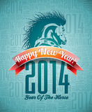 VectorVector Happy New Year 2014 design with horse and ribbon. Vector Happy New Year 2014 design with horse and ribbon on typographic background Royalty Free Illustration