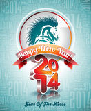 VectorVector Happy New Year 2014 design with horse Royalty Free Stock Photo