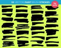 33 vectorverfborstels Inktslagen, verfplons Stock Afbeelding