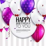Vectorverjaardagskaart met ballons en bunting vlaggen op strepenachtergrond Stock Afbeeldingen