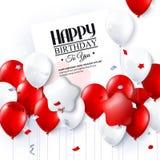 Vectorverjaardagskaart met ballons en confettien Stock Fotografie