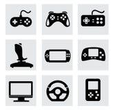 Vectorvideospelletje en bedieningshendel geplaatste pictogrammen Royalty-vrije Stock Foto