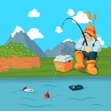 Vectorvisser met de visserij van weg die een vis op het conceptenillustratie van het berglandschap bacgkround vangen Royalty-vrije Stock Fotografie