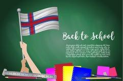 Vectorvlag van de Faeröer op Zwarte bordachtergrond Onderwijsachtergrond met Handen het Steunen van de vlag van de Faeröer B vector illustratie