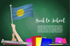 Vectorvlag van Palau op Zwarte bordachtergrond Onderwijs B Royalty-vrije Stock Foto's
