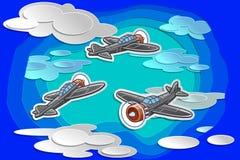 Vectorvliegtuig 3 vliegt in hemel met document besnoeiingsstijl vector illustratie
