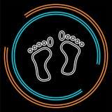 Vectorvoetafdrukillustratie - het menselijke symbool van de voetdruk, voeten silhouet geïsoleerd stock illustratie