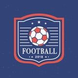 Vectorvoetbal 2018 Logo Template Set vector illustratie