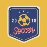 Vectorvoetbaltoernooien 2018 Logo Template stock illustratie