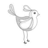 Vectorvogel De kleurende pagina met zentangled vogel Getrokken hand patt Royalty-vrije Stock Afbeeldingen