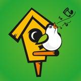 Vectorvogelhuis op een groene achtergrond stock illustratie