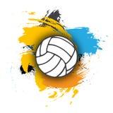 Vectorvolleyballembleem op de achtergrond van multi-colored penseelstreken volleyballbal voor banner, affiche of vlieger op a Stock Afbeelding