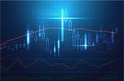 Vectorvoorraadgrafieken en marktanalyse in blauw thema vector illustratie