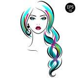 Vectorvoorraadvrouw met vlecht Het Portret van het schoonheidsmeisje met Kleurrijke haar en Oorringen stock illustratie