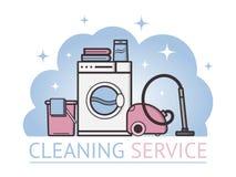 Vectorvoorwerpen die de dienst schoonmaken Stock Foto