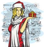 Vectorvrouw die op Kerstmis wachten Stock Afbeelding