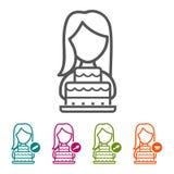 Vectorvrouw met de pictogrammen van de Verjaardagscake in dunne lijnstijl en vlak Ontwerp Royalty-vrije Stock Foto