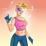 Vectorvrouw in virtuele werkelijkheidshelm, hoofdtelefoon stock illustratie